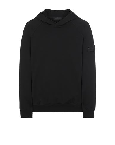 STONE ISLAND 653F3 GHOST PIECE_COTTON STRETCH FLEECE  Felpa Uomo Nero EUR 319