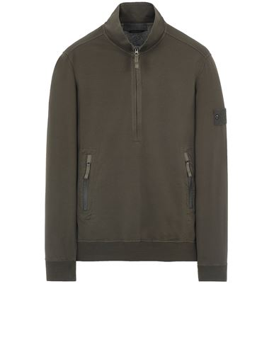 STONE ISLAND 654F3 GHOST PIECE_COTTON STRETCH FLEECE  Felpa Uomo Verde militare EUR 337