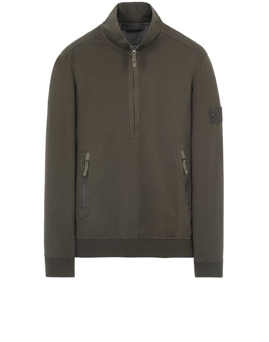 卫衣 男士 654F3 GHOST PIECE_COTTON STRETCH FLEECE Front STONE ISLAND