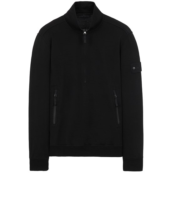 STONE ISLAND 654F3 GHOST PIECE_COTTON STRETCH FLEECE  Sweatshirt Man Black