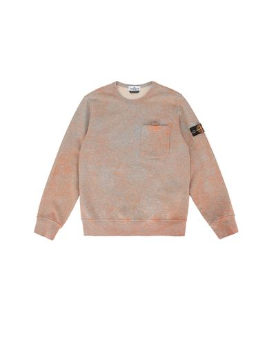 STONE ISLAND JUNIOR 61144 DUST COLOUR TREATMENT Sweatshirt Man ORANGE MELANGE EUR 177