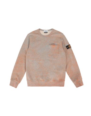 STONE ISLAND TEEN 61144 DUST COLOUR TREATMENT Felpa Uomo ARANCIO MELANGE EUR 175