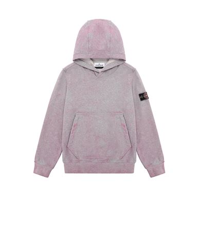 STONE ISLAND JUNIOR 61044 DUST COLOUR TREATMENT Sweatshirt Man Pink Quartz MELANGE EUR 218