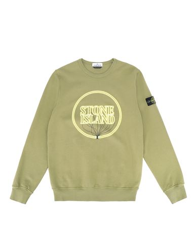 STONE ISLAND TEEN 62340 GLOW-IN-THE-DARK Sweatshirt Man Olive Green EUR 164
