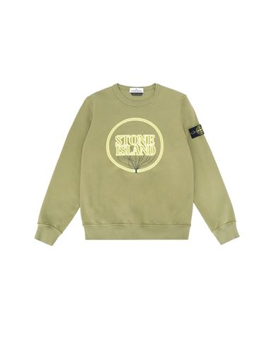 STONE ISLAND JUNIOR 62340 GLOW-IN-THE-DARK Sweatshirt Man Olive Green EUR 118