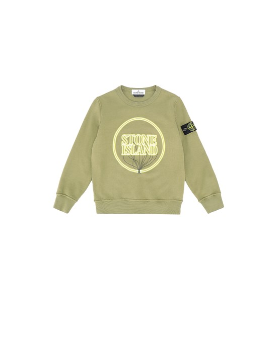 STONE ISLAND KIDS 62340 GLOW-IN-THE-DARK Sweatshirt Man Olive Green