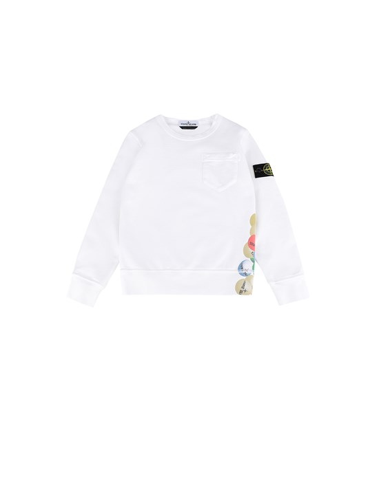 STONE ISLAND JUNIOR 62040 BUBBLE GUM PRINT 卫衣 男士 白色