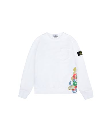 STONE ISLAND JUNIOR 62040 BUBBLE GUM PRINT Sweatshirt Man White EUR 164