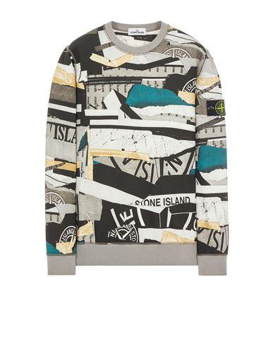 STONE ISLAND 63087 BRUSHED COTTON FLEECE_ 'MIXED MEDIA ALL OVER' PRINT Sweatshirt Man Teal EUR 309