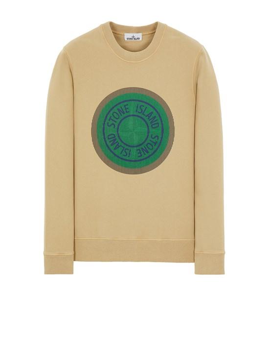 STONE ISLAND 63086 BRUSHED COTTON FLEECE_'LENTICULAR ONE' PRINT Sweatshirt Man Ecru