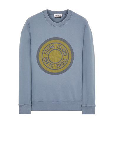 STONE ISLAND 63086 BRUSHED COTTON FLEECE_'LENTICULAR ONE' PRINT Sweatshirt Man Pastel Blue EUR 239