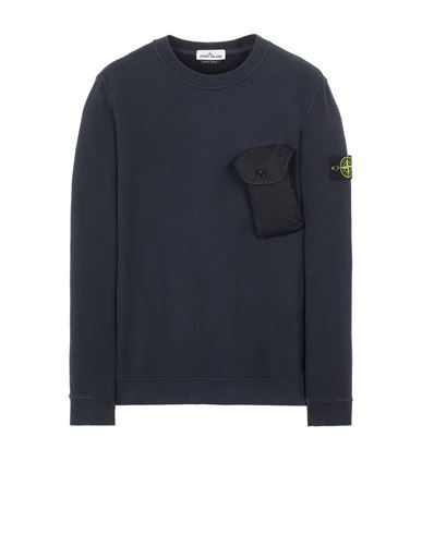 STONE ISLAND 60419 BRUSHED COTTON FLEECE Sweatshirt Man Blue USD 244