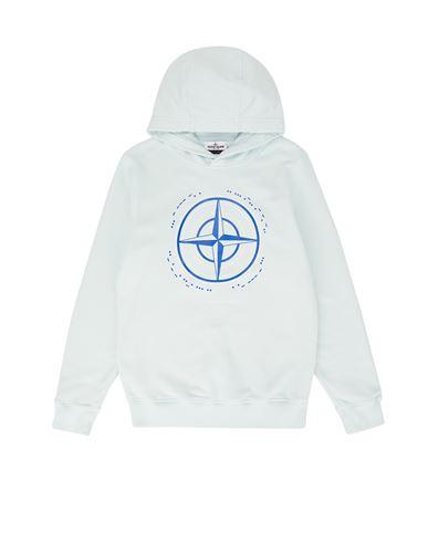 STONE ISLAND TEEN 61740 'MORSE CODE TWO' Sweatshirt Man Sky Blue EUR 185