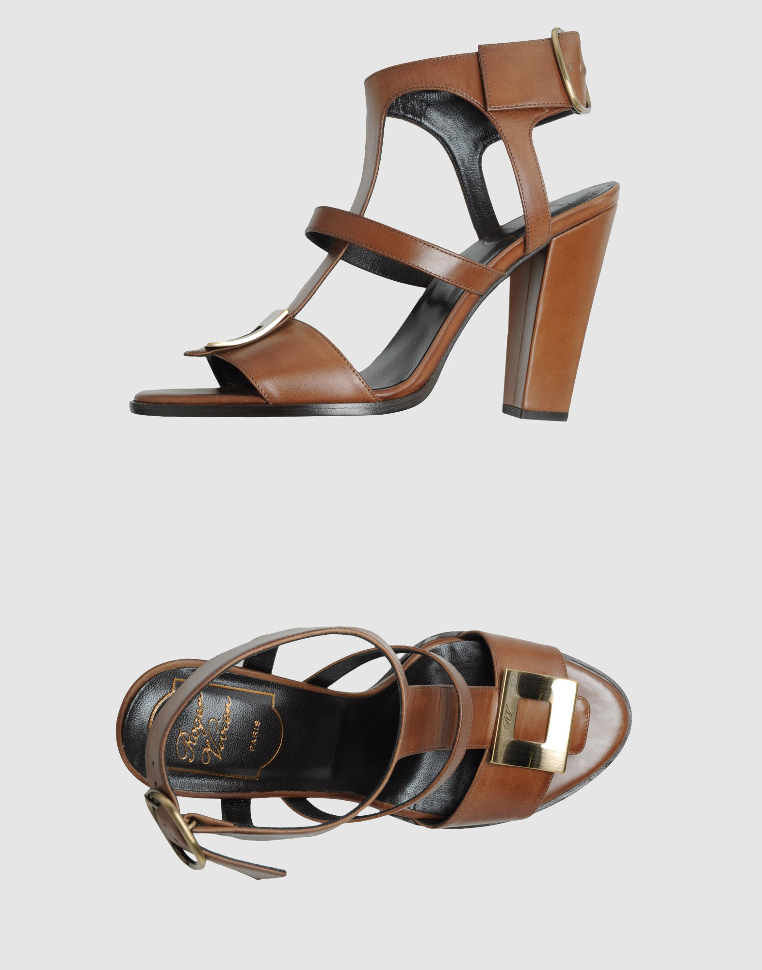 ROGER VIVIER High-heeled sandals. buckling ankle strap closure, round toeline, visible logo, metallic inserts, leather sole, covered heel. Soft leather