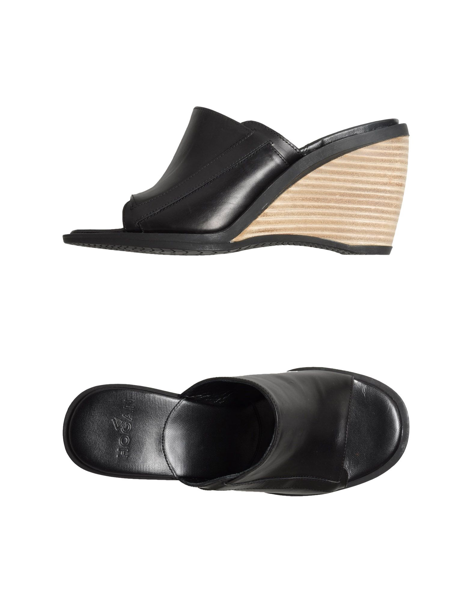 HOGAN Wedges. polished leather, solid color, round toeline, no appliqués, rubber sole, wooden wedge. Soft leather