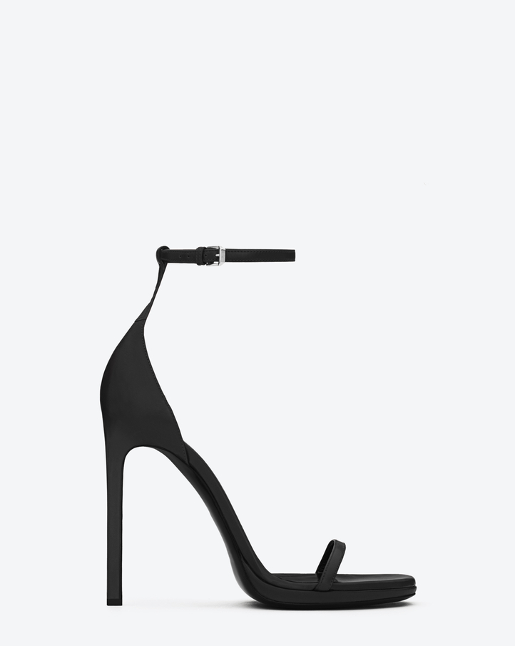 Saint Laurent Classic Jane Ankle Strap 110 Sandal In Black Leather