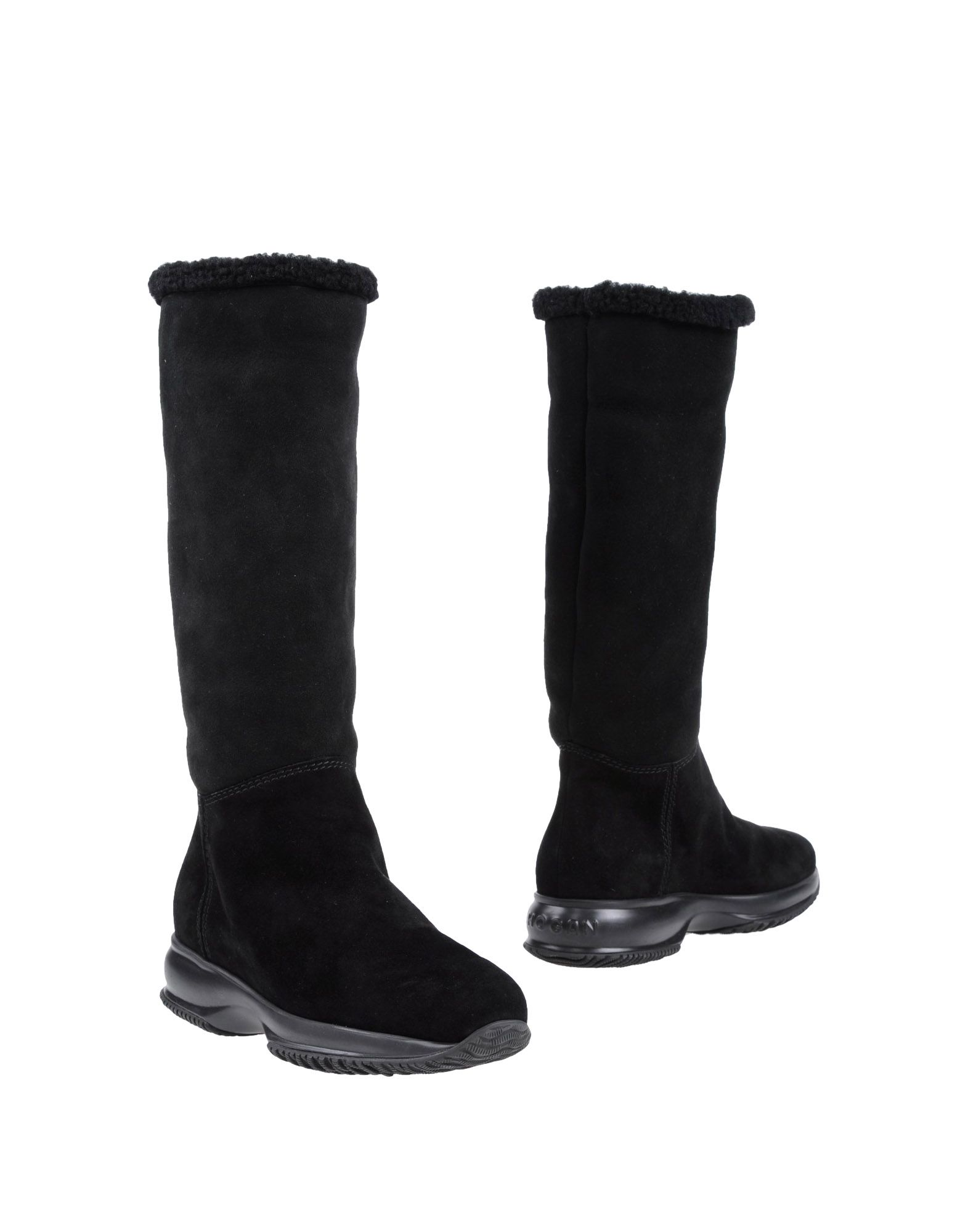 HOGAN High-heeled boots. sueded, solid color, round toeline, stitching, logo detail, rubber sole, rubber wedge. Shearling