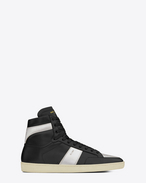 SAINT LAURENT SL/10H U Signature Court Classic SL/10H High Top Sneaker in Black Leather and Silver Metallic Leather f