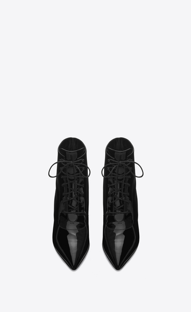 SAINT LAURENT Heel Booties D Cat Boot 50 Bootie in Black Patent Leather b_V4