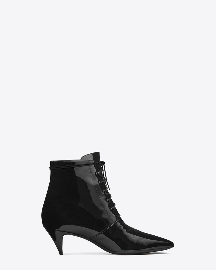 Saint Laurent Cat Boot 50 Bootie In Black Patent Leather | YSL.com