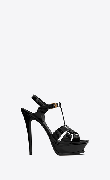 SAINT LAURENT Tribute D Classic Tribute 105 Sandal in Black Patent Leather a_V4