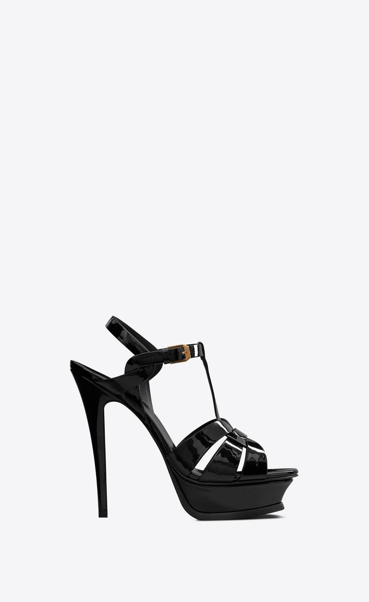 Saint Laurent Tribute 105 Sandal In Black Patent Leather