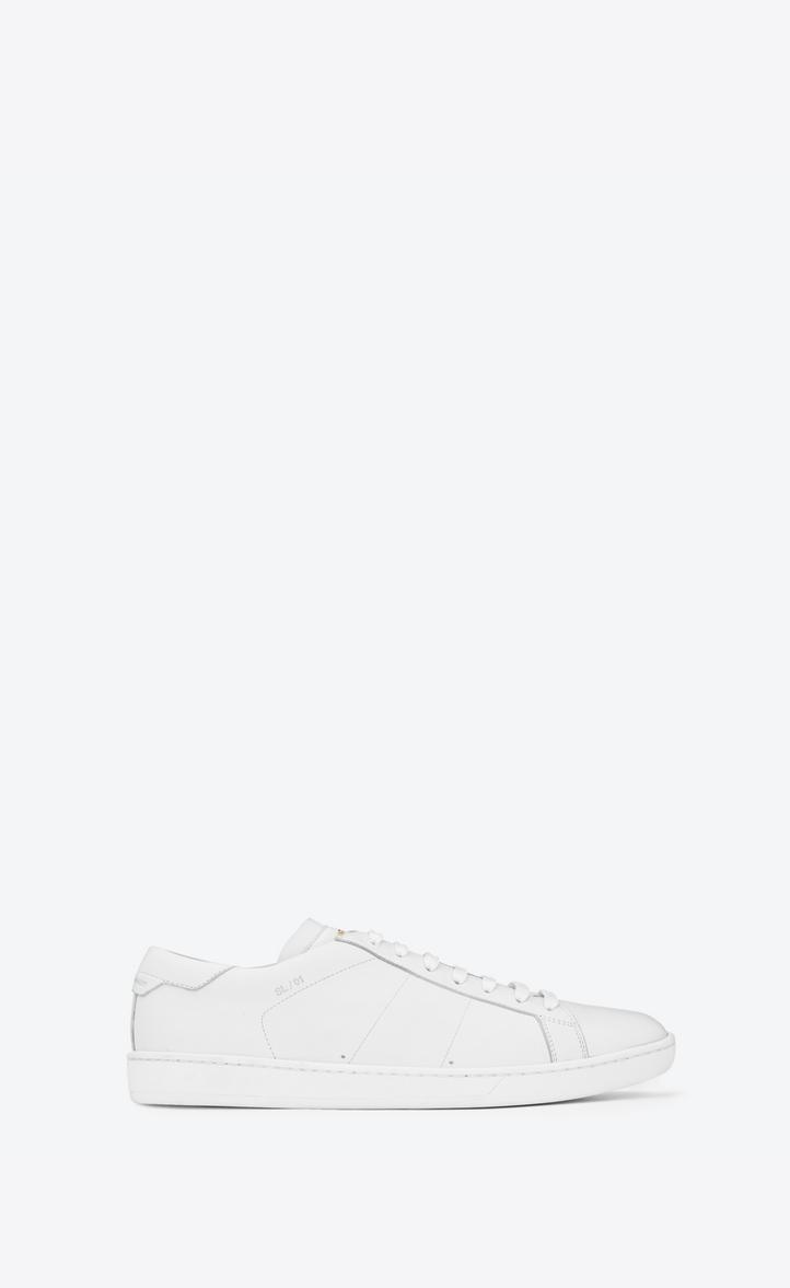 Saint Laurent SL 01 Court CLassic SNEAKERS IN OPTIC WHITE LEATHER ... c03e9e705