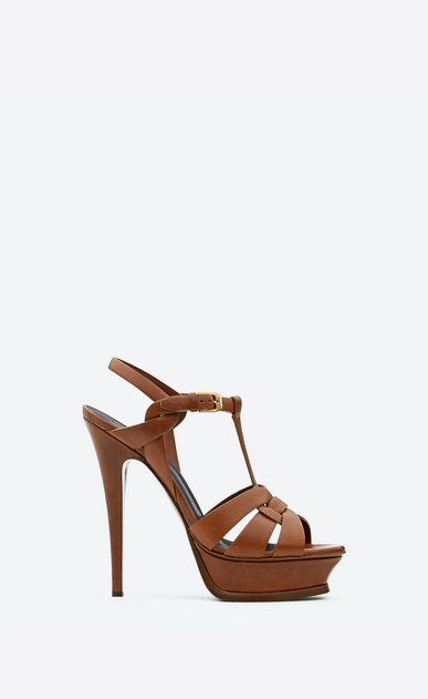 SAINT LAURENT Tribute D Classic Tribute 105 Sandal in Amber Leather a_V4