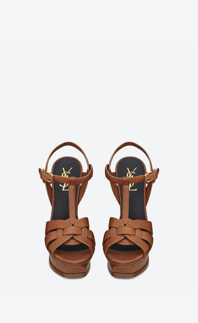 SAINT LAURENT Tribute D Classic Tribute 105 Sandal in Amber Leather b_V4
