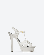 SAINT LAURENT Tribute D Classic Tribute 105 Sandal in Dove White Leather f
