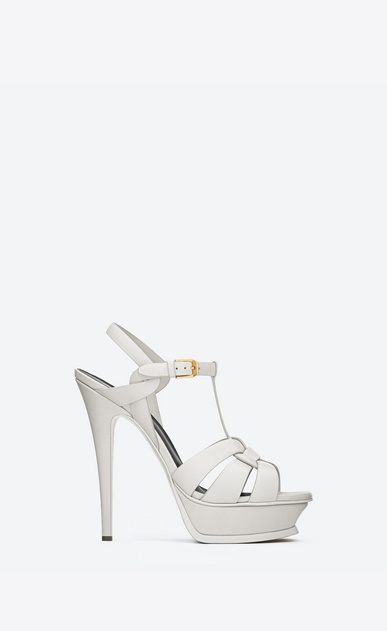 SAINT LAURENT Tribute D Classic Tribute 105 Sandal in Dove White Leather a_V4