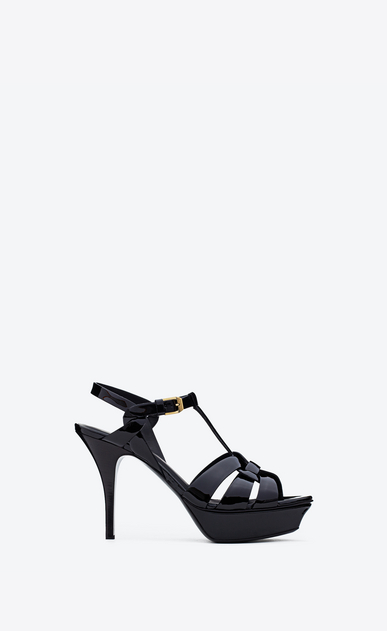 SAINT LAURENT Tribute D Classic Tribute 75 Sandal in Black Patent Leather a_V4