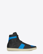 SAINT LAURENT SL/10H U Signature court classic SL/10H high top in black and blue leather f
