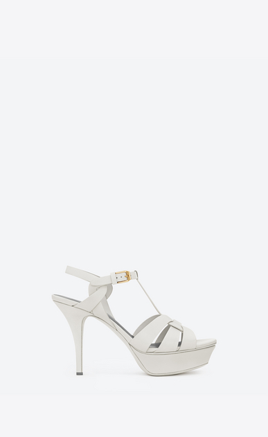 SAINT LAURENT Tribute D CLASSIC TRIBUTE 75 SANDAL IN DOVE WHITE LEATHER v4