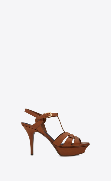 SAINT LAURENT Tribute D CLASSIC TRIBUTE 75 SANDAL IN Amber LEATHER a_V4