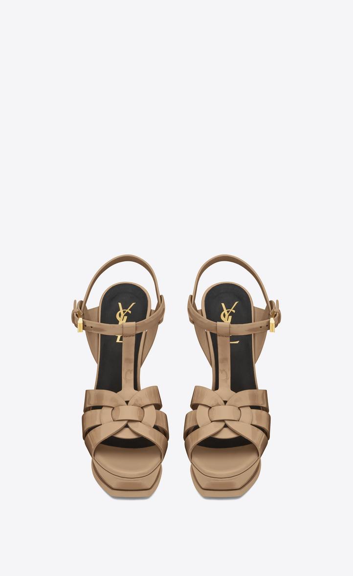 2d37f4c3caad5 Saint Laurent Tribute 105 Sandals In Dark Powder Patent Leather ...