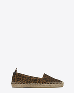SAINT LAURENT Espadrille D Espadrille in Tan Leopard Printed Brushed Leather f