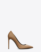 SAINT LAURENT High Heel Pump D CLASSIC PARIS Skinny 105 ESCARPIN PUMP IN Dark Powder PATENT LEATHER f