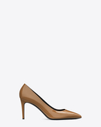 SAINT LAURENT High Heel Court D CLASSIC PARIS Skinny 80 ESCARPIN PUMP IN Dark Powder PATENT LEATHER f
