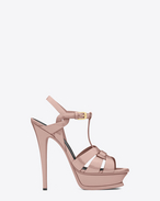 SAINT LAURENT Tribute D classic tribute 105 sandal in pale blush patent Calf-skin leather f