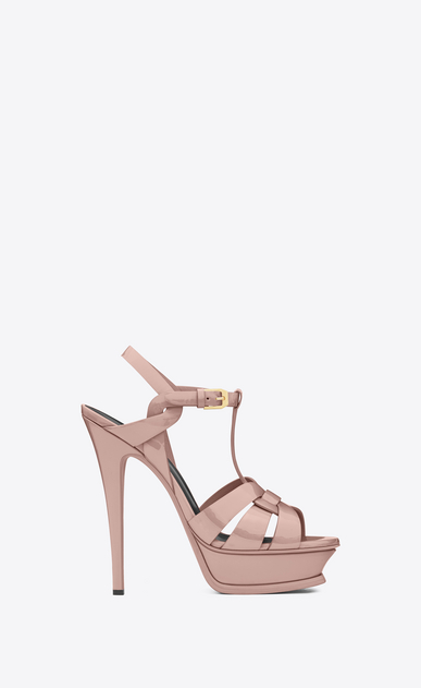 SAINT LAURENT Tribute D classic tribute 105 sandal in pale blush patent Calf-skin leather a_V4