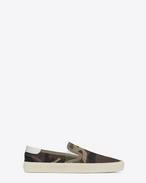 SKATE SLIP-ON SNEAKER IN Khaki Camouflage Printed Canvas Gabardine