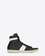 SAINT LAURENT SL/10H U SNEAKERS Signature court classic SL/10H HIGH TOP nere e bianco ottico IN PELLE f