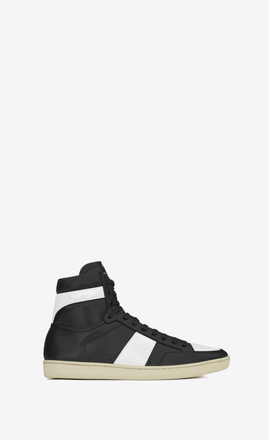 SAINT LAURENT SL/10H U Signature court classic SL/10H HIGH TOP SNEAKER IN BLACK and Optic White LEATHER a_V4