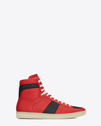 SAINT LAURENT SL/10H U Signature court classic SL/10H HIGH TOP SNEAKER IN Lipstick Red and BLACK LEATHER f