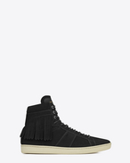 SIGNATURE COURT CLASSIC SL/18H Fringed High Top SNEAKER IN Black Suede