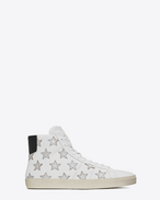 SAINT LAURENT High top sneakers U SNEAKERS California Americana Mid Top in pelle bianco ottico e nera e pelle argentata metallizzata f