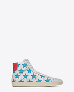 SAINT LAURENT High top sneakers U Signature California mittelhoher Sneaker aus silbernem, rotem und türkisfarbenem Leder mit Metallic-Optik f