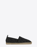 Espadrille in Black Canvas and Metal Studs