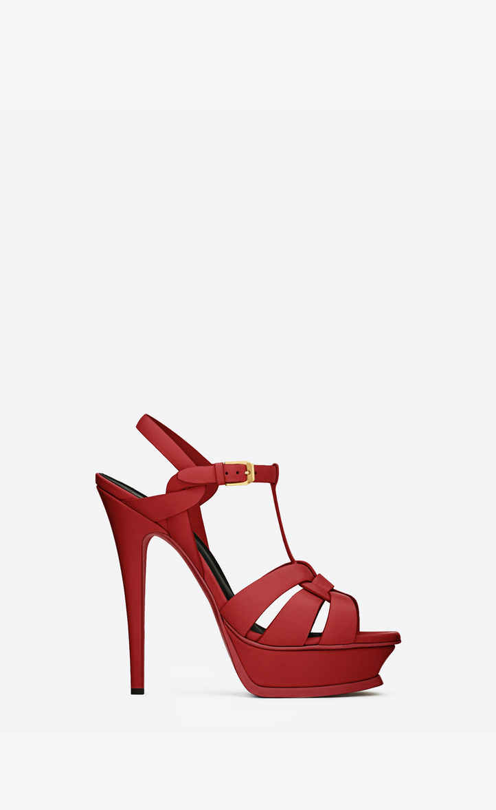 Saint Laurent Tribute 105 Sandal In Lipstick Red Leather  e36561ad2